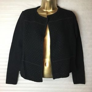 Charter club petite metallic knit cropped jacket